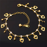 3 Color Crystal 18K Gold Plated Heart Anklet Bracelet