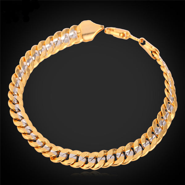 Two Tone 18K Gold Plated Cuban Link Chain Bracelet