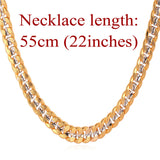 Two Tone 18K Gold Plated Cuban Link Chain Necklace