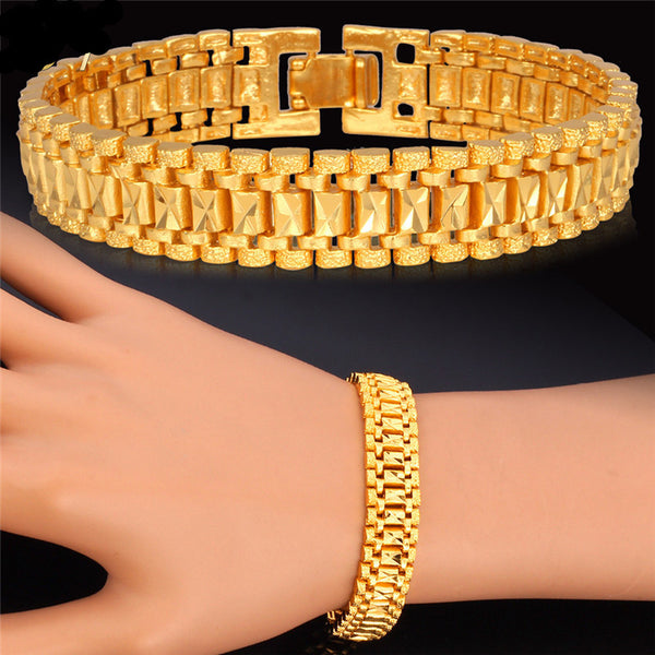 Rock Style 18k Real Gold /Platinum Plated Chunky Chain Link Bracelet