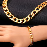 18K Gold/Platinum Plated Chunky Carb Cuban Link Chain Bracelet