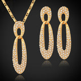 Rhinestone Crystals 18K Gold/Platinum Plated Necklace & Earrings Set