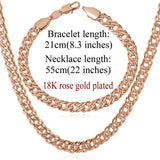 Elegant 18K Gold /Platinum/Rose Gold Plated Necklace Bracelet Jewelry Set