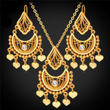 Indian Jewelry Dangle 18K Real Gold/Platinum Plated Rhinestone Classic Drop Earrings & Necklace Set