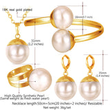 18K Gold Plated Pearl Necklace/Bracelet/Earrings/Ring Jewelry Set