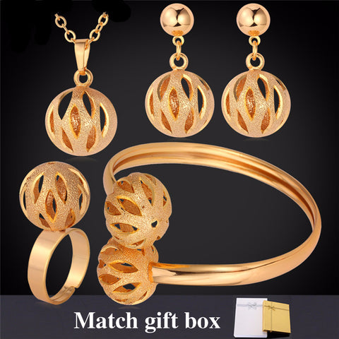 Elegant Ball 18K Gold/Platinum Plated Necklace/Earrings/Bracelet/Ring Jewelry Set