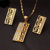Vintage G Style Platinum/18K Gold Plated Rhinestone Pendant Earrings Jewelry Sets