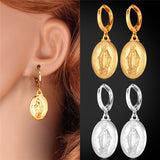 Christian - Platinum/18K Real Gold Plated Virgin Mary Necklace & Earrings Set