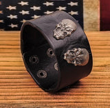 Metal Skull Studded Black Leather Cuff Bracelet