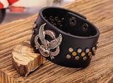 Eagle Studded Black Leather Cuff Bracelet