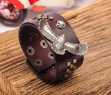 Eagle Skull Studded Brown Leather Cuff Bracelet