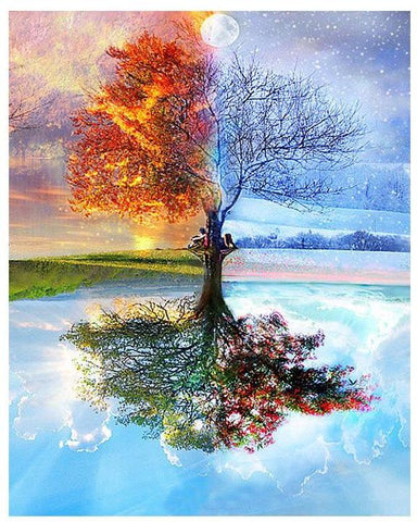 Four Season Tree of Life - Paint by Numbers DIY Oil Painting Kit