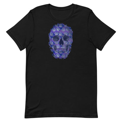 Blue Skull T-Shirt with Dog Paws Short-Sleeve Unisex and Free Shipping