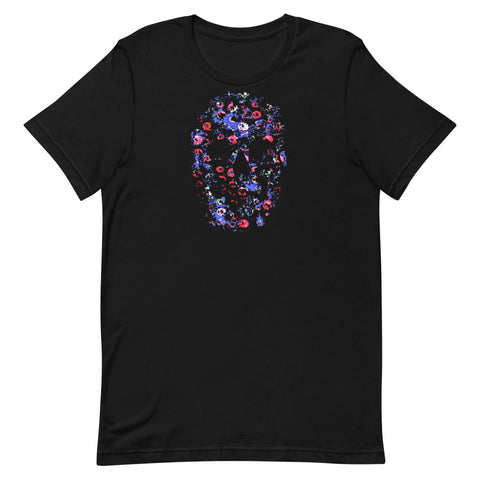 Blue Skull T-Shirt with Skull Roses Short-Sleeve Unisex