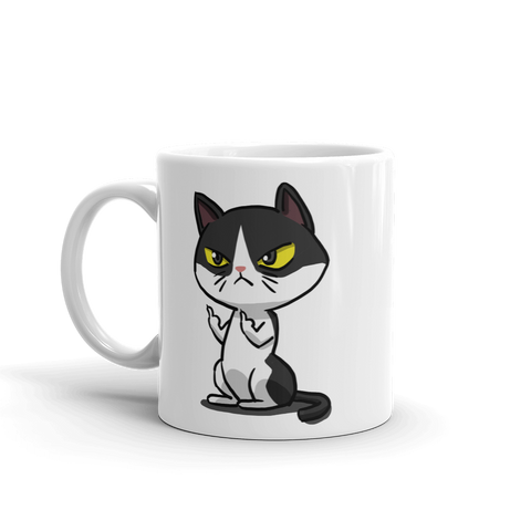 cat coffee mug middle finger cat 5 oz