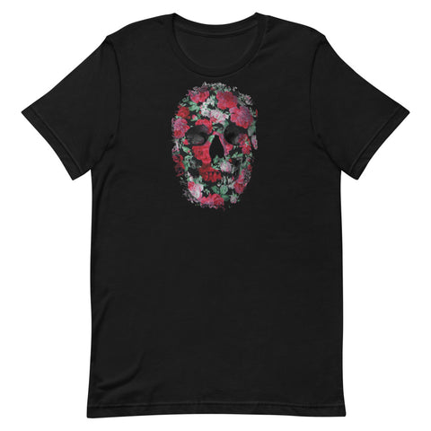 Skull T-Shirt with Roses Short-Sleeve Unisex