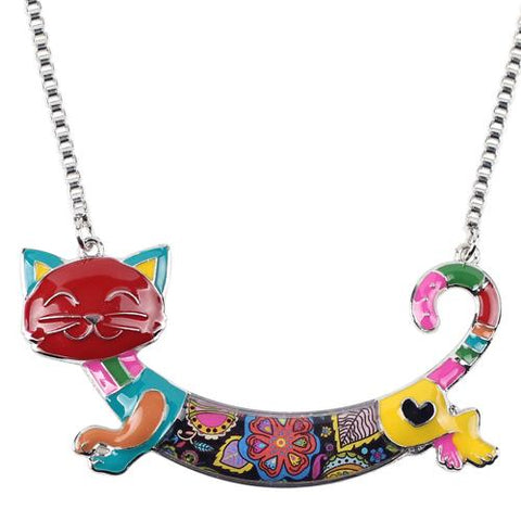 Cat Necklace Maxi Alloy Choker Chain Pendant