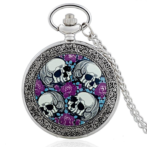 Pocket Watch Steampunk Flower Skull