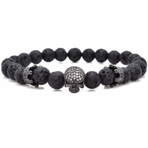 Skull Bracelet with Lava Micro Beads