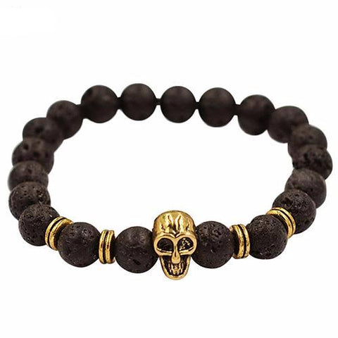 Skull Bracelet Golden with Lava Beads