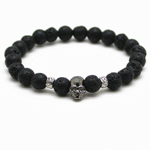 Skull Bracelet with Black Beads Natural Stones