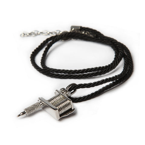 TATTOO MACHINE PENDANT & SILK NECKLACE SET [D]