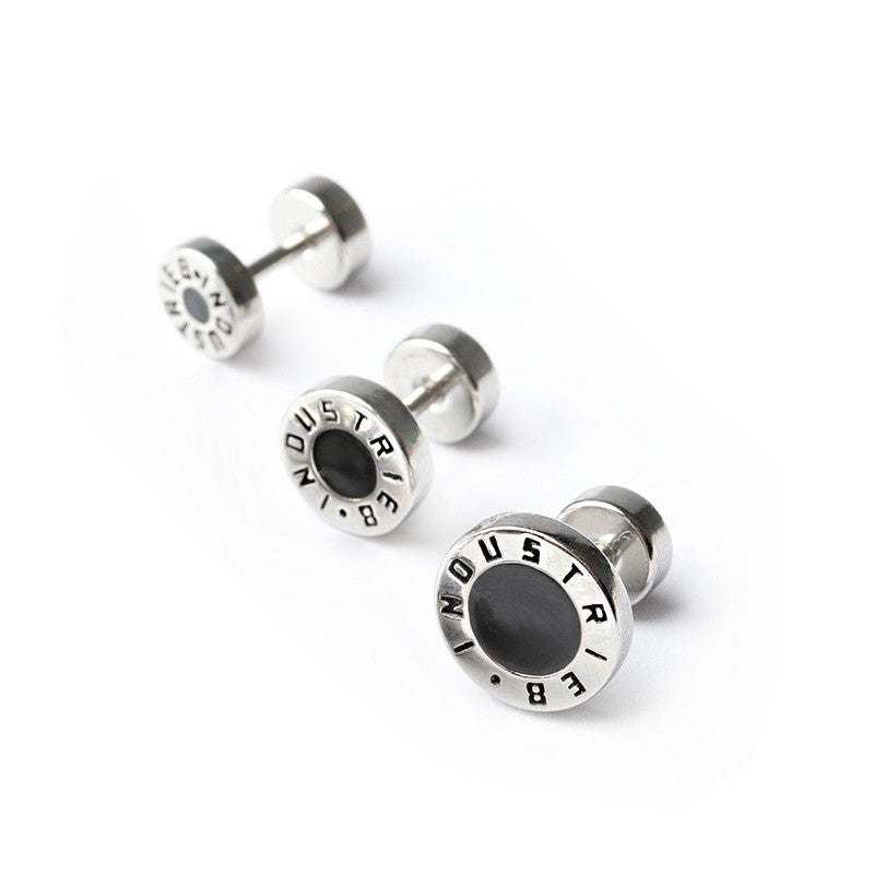 INDUSTRIE8 BADGE LOGO EAR STUDS
