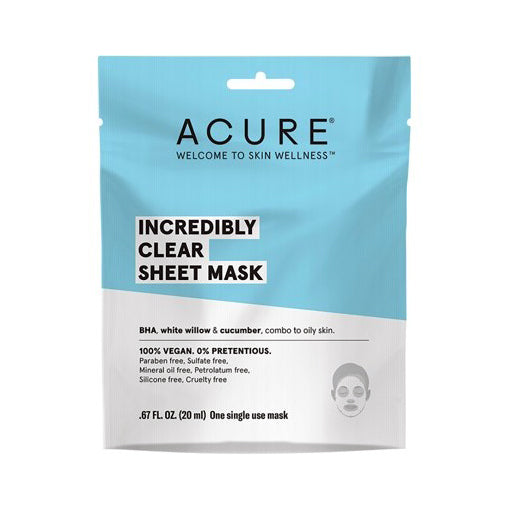 Acure Incredibly Clear Sheet Mask 20mL (One Single Use Mask) - The Healthy Household