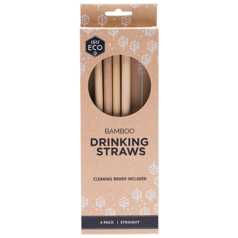 Ever Eco Bamboo Straws Straight - 4 Pack + Brush - The Healthy Household