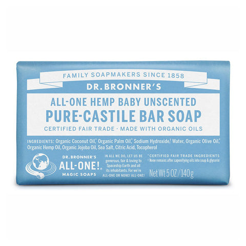 Dr Bronner's Pure-Castile Soap Bar - Baby Unscented with Hemp Oil 140g SAFE, HEALTHY, EXCELLENT LATHER! - The Healthy Household
