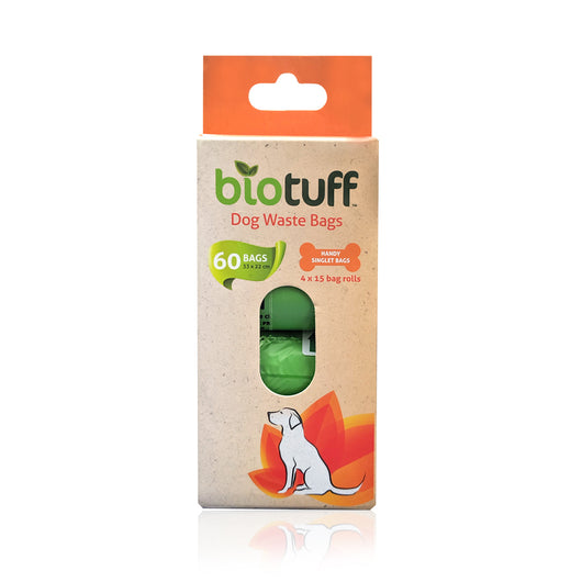 BioTuff Dog Waste Bags Refill (No Dispenser) 4 x 15 Bag Rolls (60 Bags) *PLANT BASED* - The Healthy Household