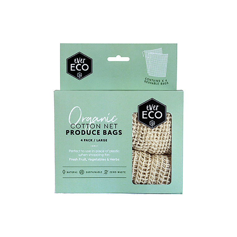 Ever Eco Cotton Net Produce Bags 4 x Large Bags (30x40cm each) - The Healthy Household