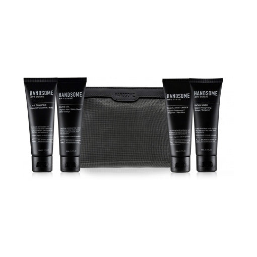 Handsome Men's Skincare Travelling Man Mini Set (4 x 50mL Tubes + Bag)