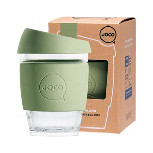 Joco Reusable Glass Cup 354mL / 12oz (Army, Mint, Sandstone or Mood Indigo) - The Healthy Household