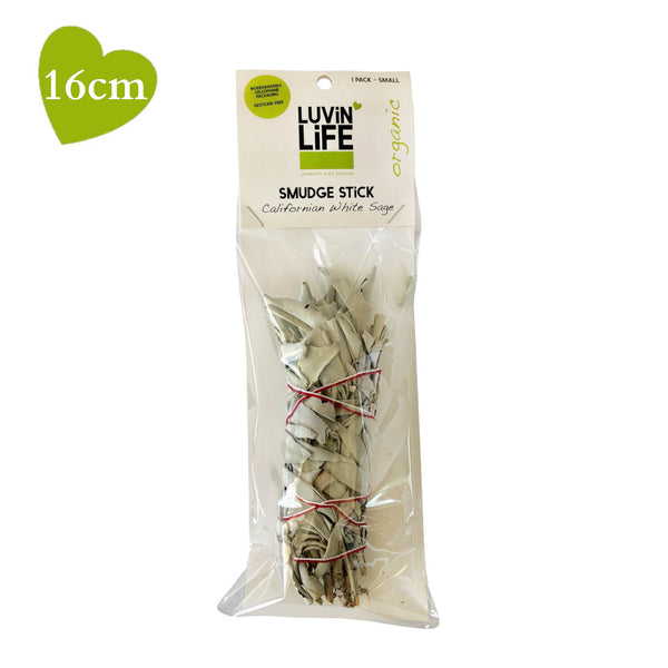 Luvin Life White Sage Organic Smudge Stick Small 16cm SPACE CLEARING - The Healthy Household
