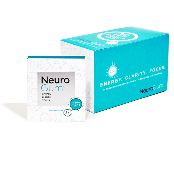NeuroGum - Clean Energy and Focus Boosting Nootropic Gum (6-Pack of 54 Pieces or 12-Pack of 108 Pieces) - The Healthy Household