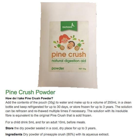 Biohawk - Pine Crush Natural Digestion Aid (35g powder, makes 250mL) - The Healthy Household