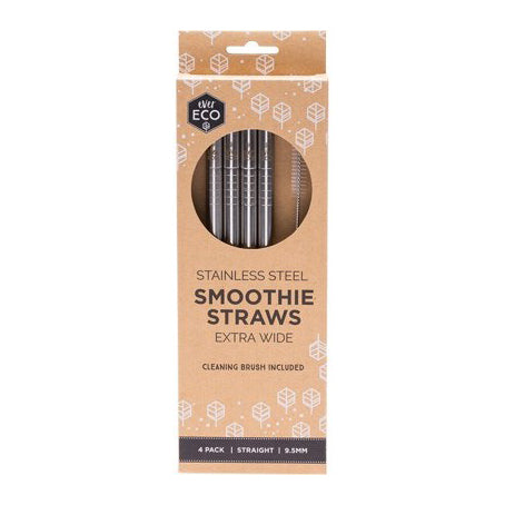 "Ever Eco Stainless Steel ""Smoothie"" Straws Straight - 4 Pack + Brush *EXTRA WIDE* - The Healthy Household"