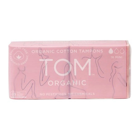 Tom Organic 100% Organic Cotton Tampons (Mini, Regular & Super) - The Healthy Household