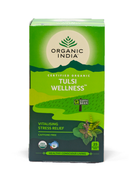 Organic India - Tulsi Wellness Tea - Vitalising Stress Relief (25 Bags) - The Healthy Household
