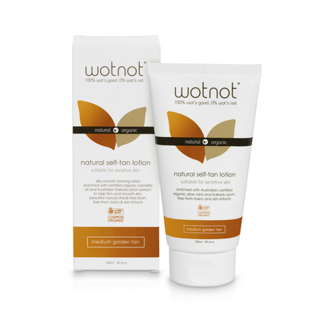 Wotnot Natural Self-Tan Lotion Medium Golden Tan 150mL (ORGANIC, VEGETARIAN) - The Healthy Household