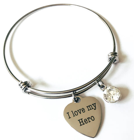 I Love My Hero Rhinestone Bangle Heart Charm Bracelet