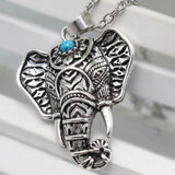 Elephant Teal Stone Necklace