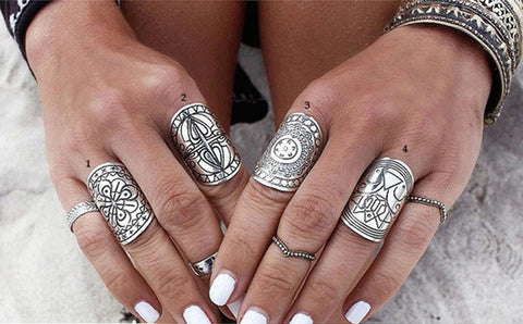 Ethnic Carving Statement Rings