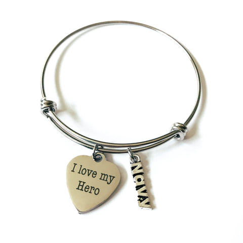 I Love My Hero Navy Bangle Heart Charm Bracelet