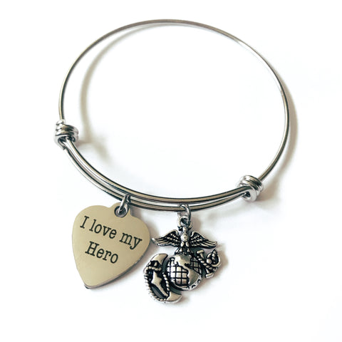 Marines I Love My Hero EGA Charm Bangle Bracelet