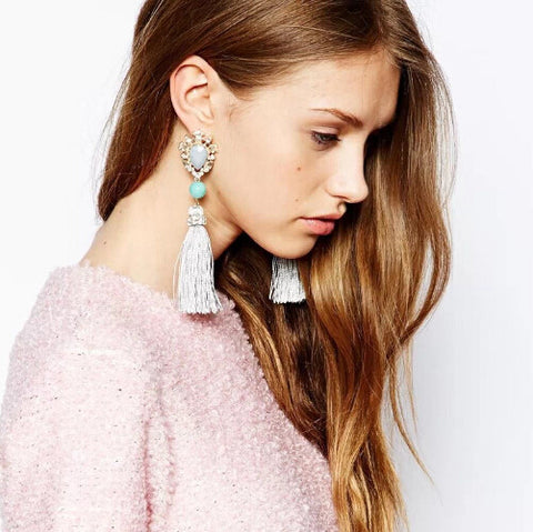 Rhinestone Tassel Earrings