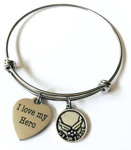 I Love My Hero Air Force Charm Bangle Bracelet