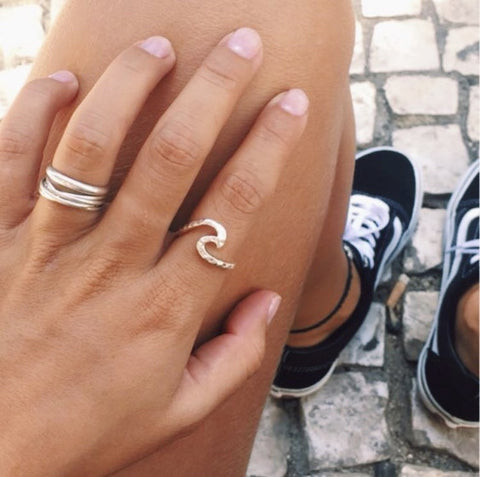 Silver or Gold Wave Midi Ring
