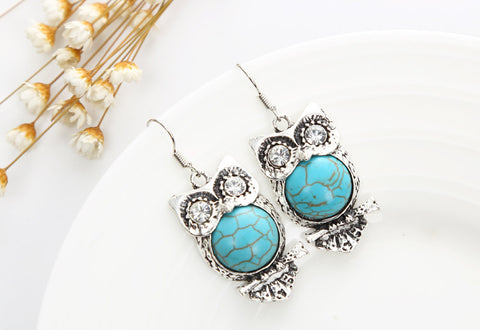 Teal Owl Dangle Earrings